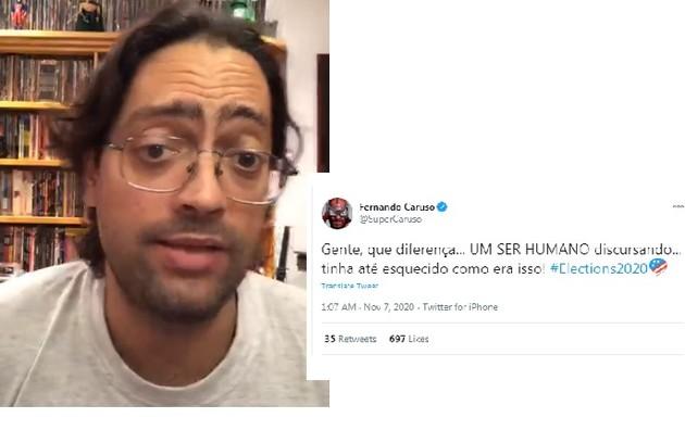 Fernando Caruso, do 'Zorra, fez post no Twitter a respeito do discurso de Joe Biden (Foto: Reprodução/Instagram)