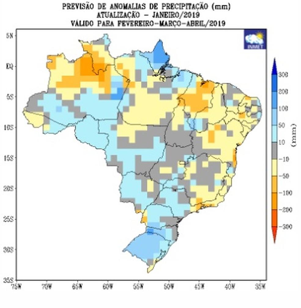 Mapa indica que a previsão de chuvas para Rondônia (coloração azul claro) está entre a média e acima da média, segundo o Inmet.  — Foto: Reprodução/Inmet