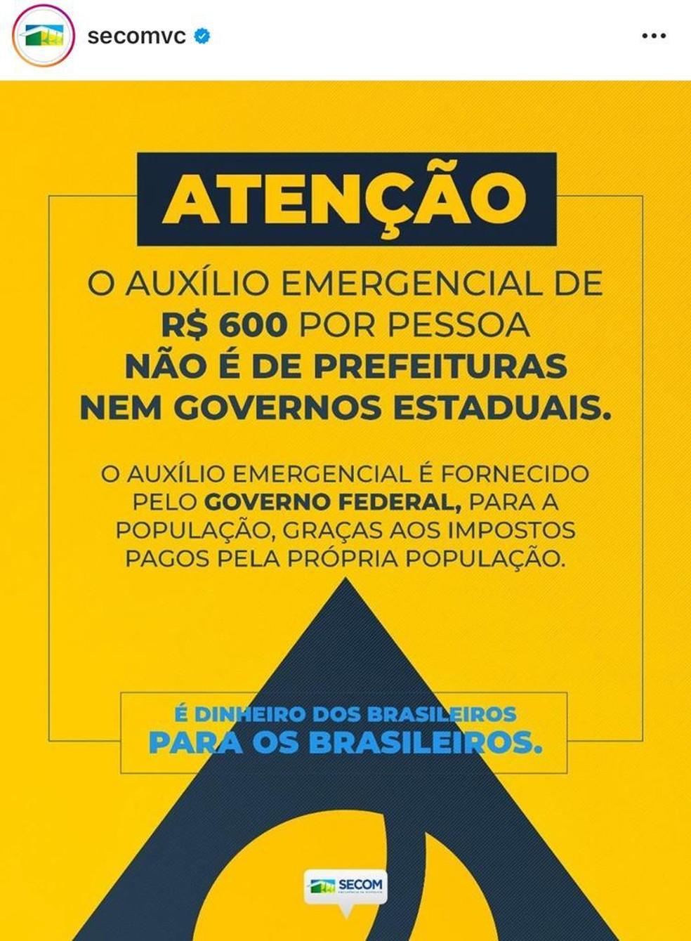 Mensagem publicada em perfil oficial do governo Jair Bolsonaro sobre a 'autoria' do auxílio de R$ 600 — Foto: Instagram/Reprodução