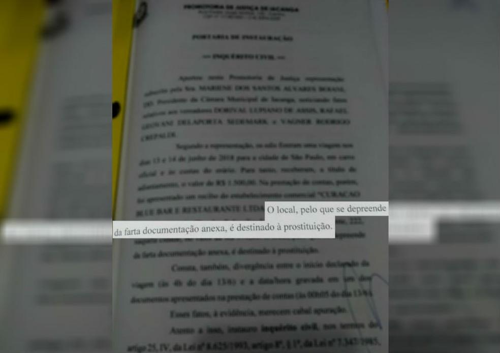 MP investiga gastos de vereadores em Iacanga — Foto: Ministério Público/Divulgação