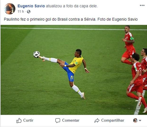 Foto de Eugenio Savio mostra Paulinho prestes a fazer gol contra a Sérvia (Foto: Reprodução/Facebook)