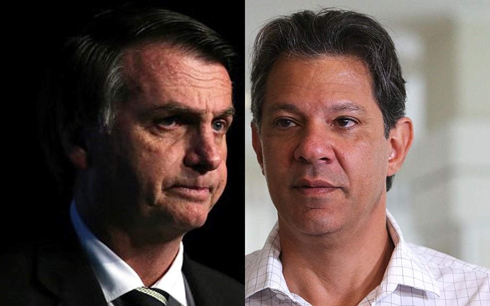 Jair Bolsonaro e Fernando Haddad — Foto: Paulo Whitaker/Reuters e Amanda Perobelli/Reuters