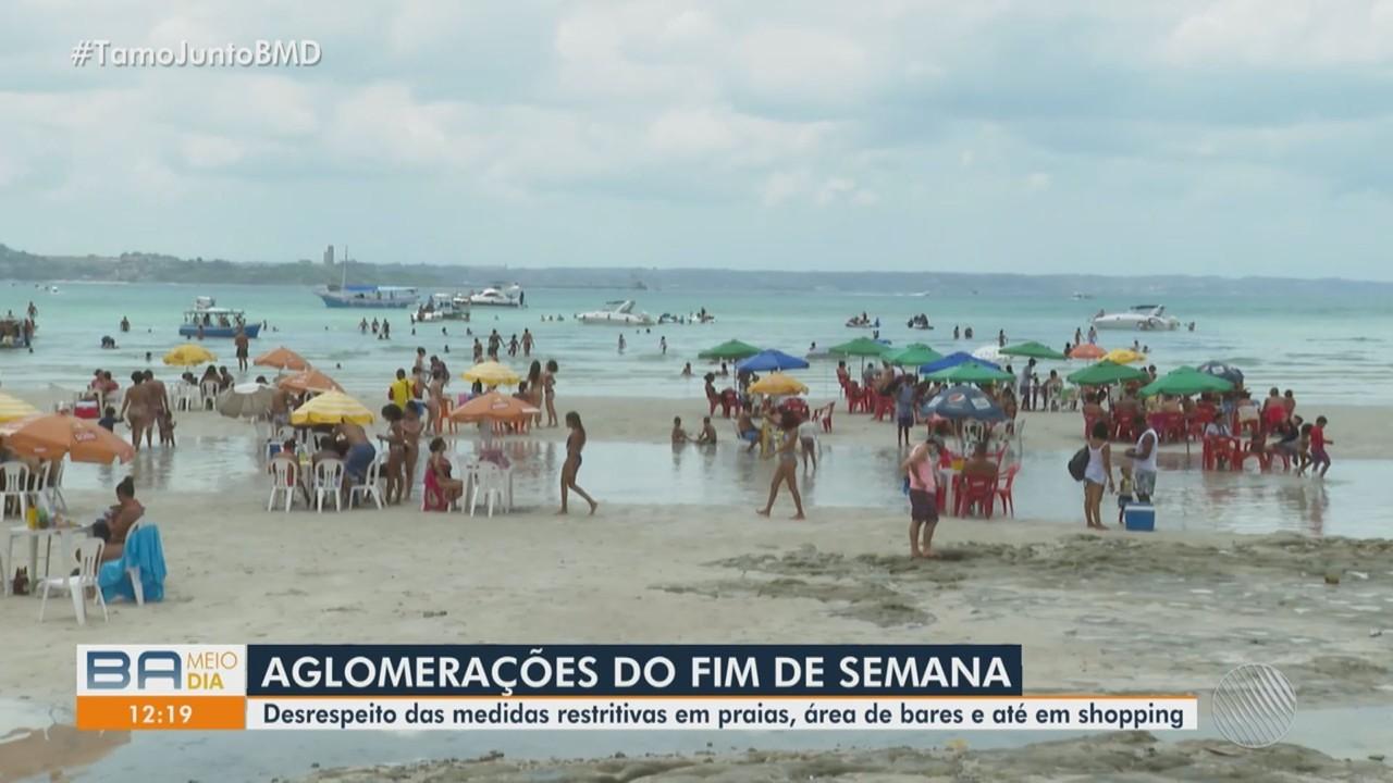 Fim de semana é marcado por aglomerações em praias e bairros da capital