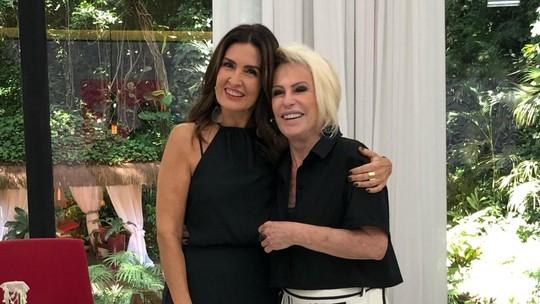 Fátima Bernardes visita 'Mais Você', troca presentes com Ana Maria e prova receita: 'Vizinhas'