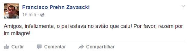 Filho de Teori Zavascki, Francisco Prehn Zavascki, confirma no Facebook que ministro estava no avião que caiu em Paraty (Foto: Reprodução/Facebook/Francisco Prehn Zavascki)