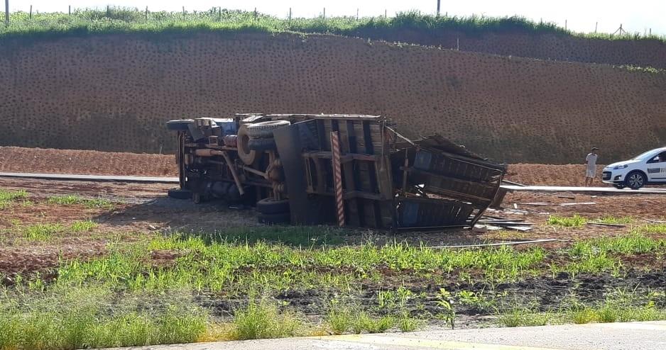 Caminhão carregado com gado tomba na BR-491 - Noticias