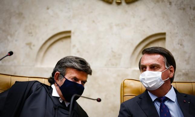 Luiz Fux e Jair Bolsonaro na posse do presidente do STF