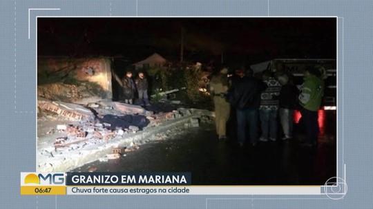 Chuva de granizo causa destruição em Mariana, na Região Central