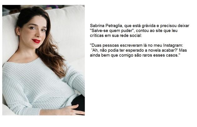 Sabrina Petraglia conta com exclusividade que leu comentários de crítica após engravidar (Foto: Reprodução/Instagram)