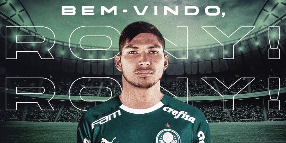 Rony é anunciado pelo Palmeiras — Foto: Reprodução