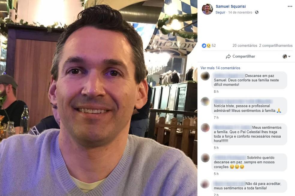 Samuel Rodrigues Squarisi, de 38 anos, não resistiu a intoxicação causada pelo cloro em academia de Campinas (SP) — Foto: Reprodução/Facebook