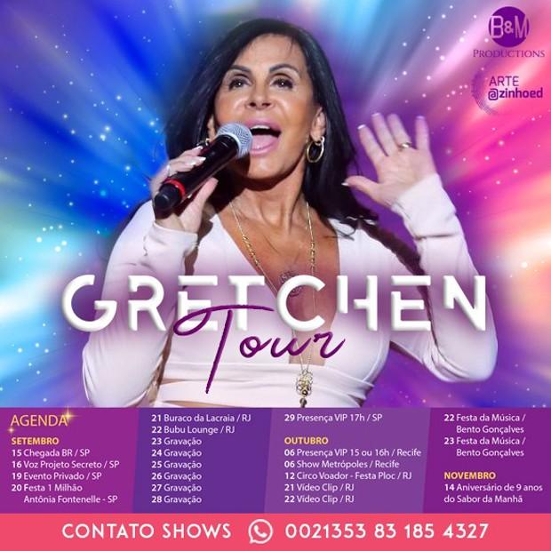 Agenda de shows de Gretchen no Brasil em 2018 (Foto: Divulgação)