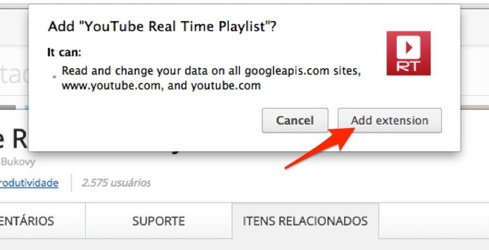 Ação para baixar e instalar a extensão YouTube Real Time Playlist para o Chrome (Foto: Reprodução/Marvin Costa)