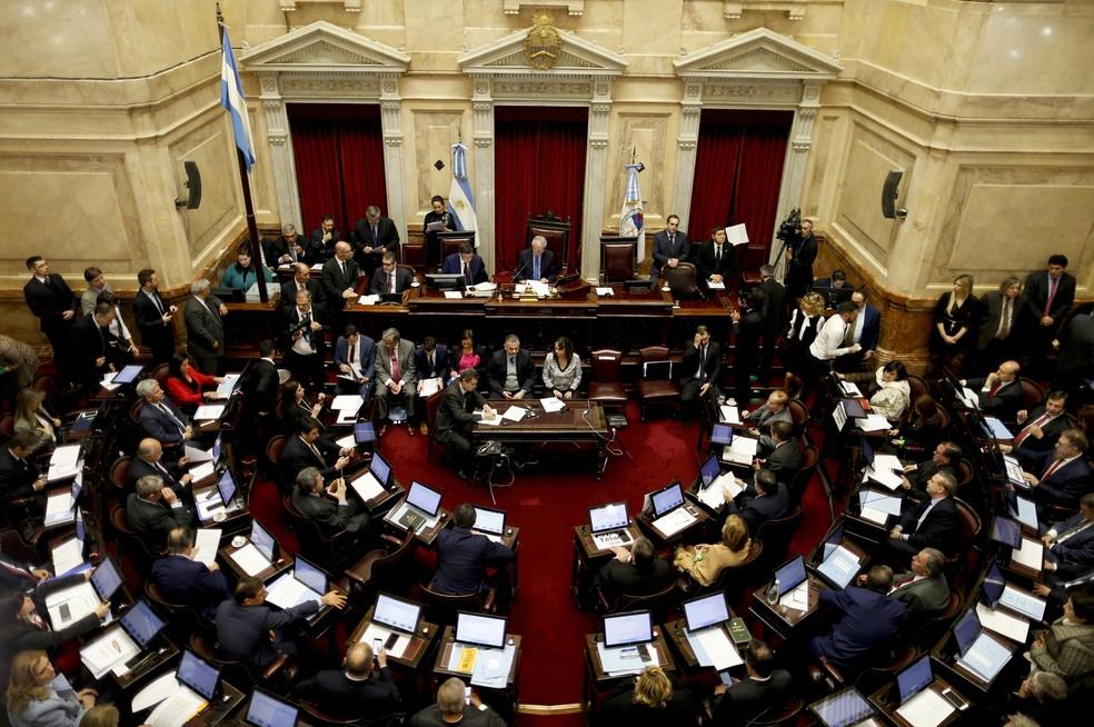 Sessão votação do aborto na Argentina (Foto: Natacha Pisarenko/AP)