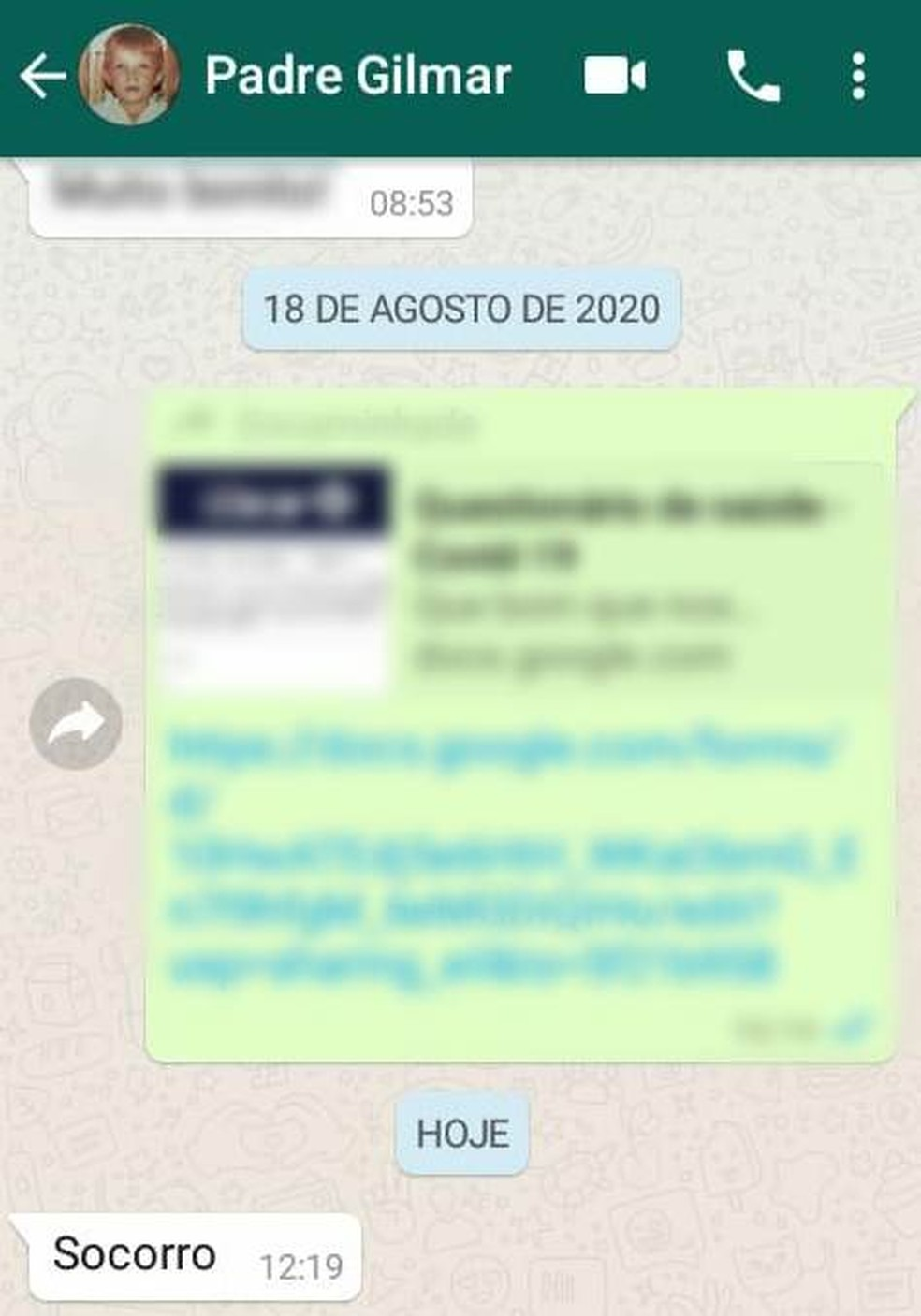 Mensagem enviada pelo Pedre Gilmar ao amigo — Foto: Reprodução/TV Cabo Branco