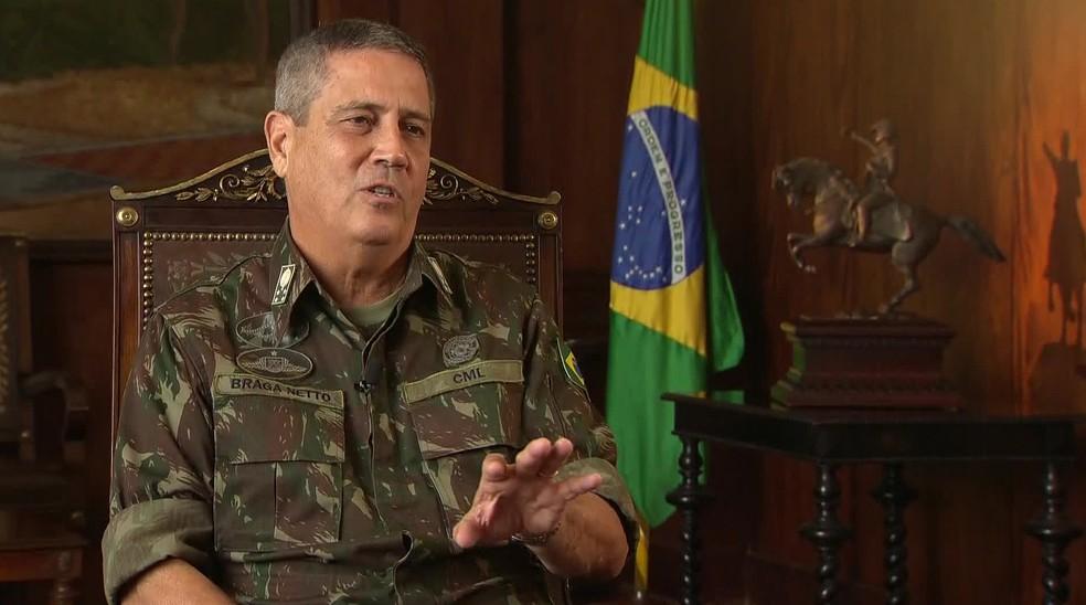 General Braga Netto, que foi interventor da segurança do RJ — Foto: Reprodução/TV Globo