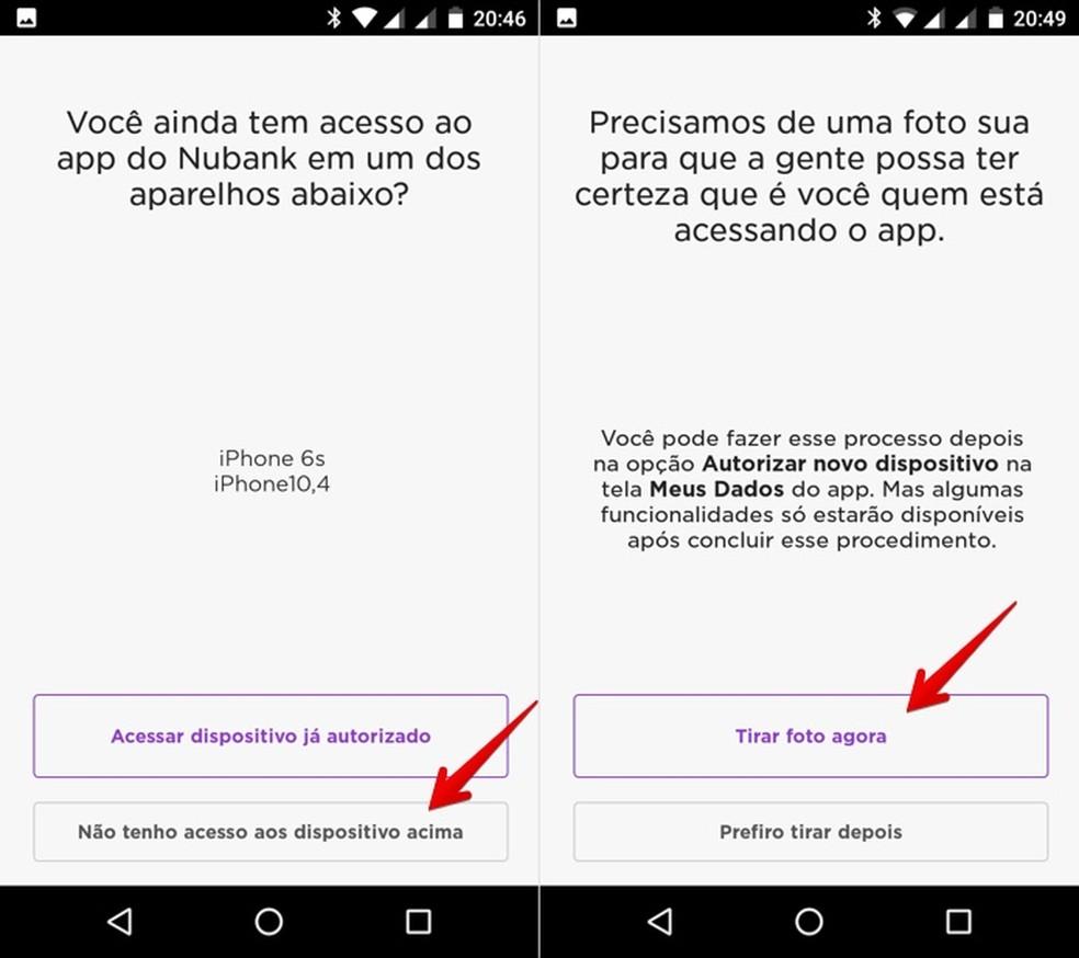 Confirmando celular usando uma selfie — Foto: Reprodução/Helito Bijora