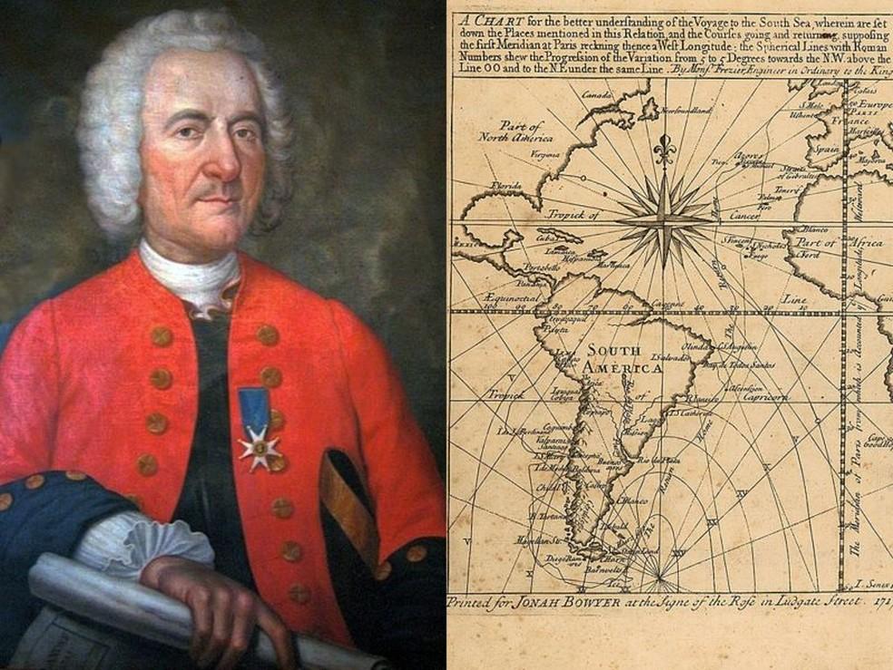 Frézier e o frontispício de seu livro 'Uma viagem ao Mar do Sul e ao longo das costas do Chile e do Peru, nos anos de 1712, 1713 e 1714' — Foto: BBC