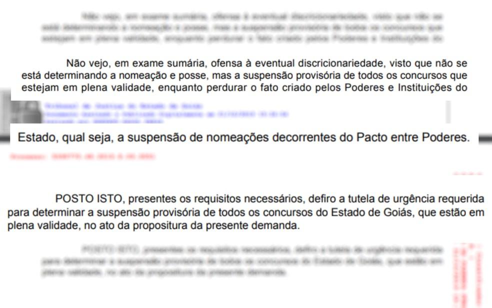 Liminar decisão que suspende realização de concursos públicos pelo estado de Goiás — Foto: Reprodução/TJ-GO