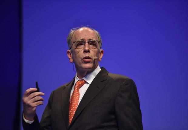 O presidente da Petrobras, Pedro Parente, durante palestra no HSM 2017 (Foto: Openspace)
