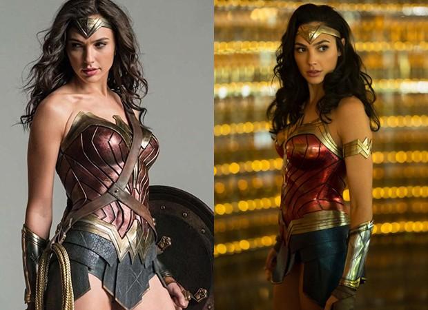 A Mulher-Maravilha (Gal Gadot) com a armadura antiga e a nova (Foto: Reprodução Instagram e Divulgação/WarnerBros)