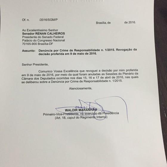 Waldir Maranhão comunica Renan Calheiros sobre revogação (Foto: Reprodução)