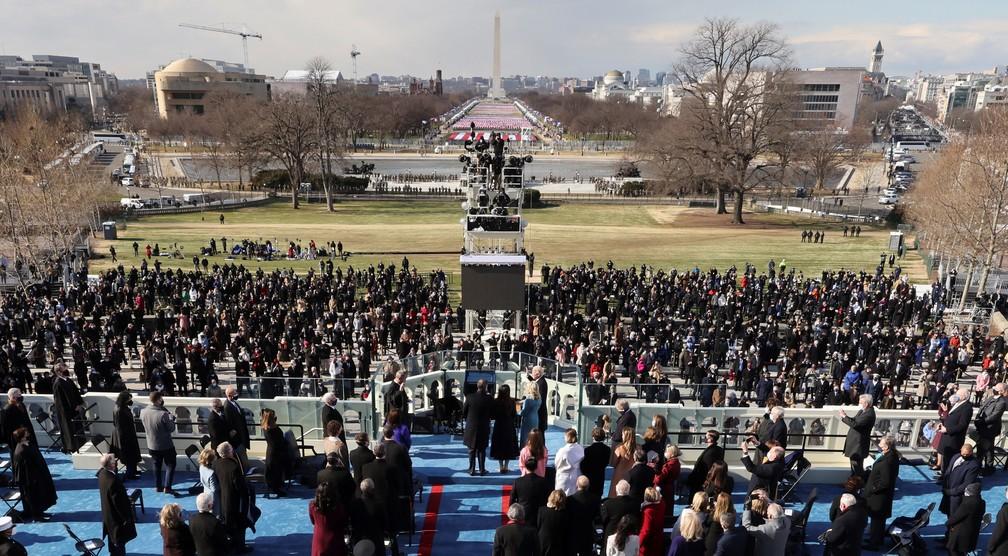 Joe Biden é empossado como 46º Presidente dos Estados Unidos na Frente Oeste do Capitólio dos EUA, em Washington, nesta quarta (20)  — Foto: Jim Bourg/Reuters