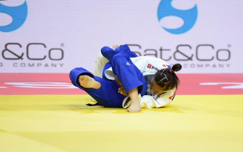 Érika Miranda, do Brasil, chega às quartas e perde para japonesa (Foto: Paulo Pinto / CBJ)