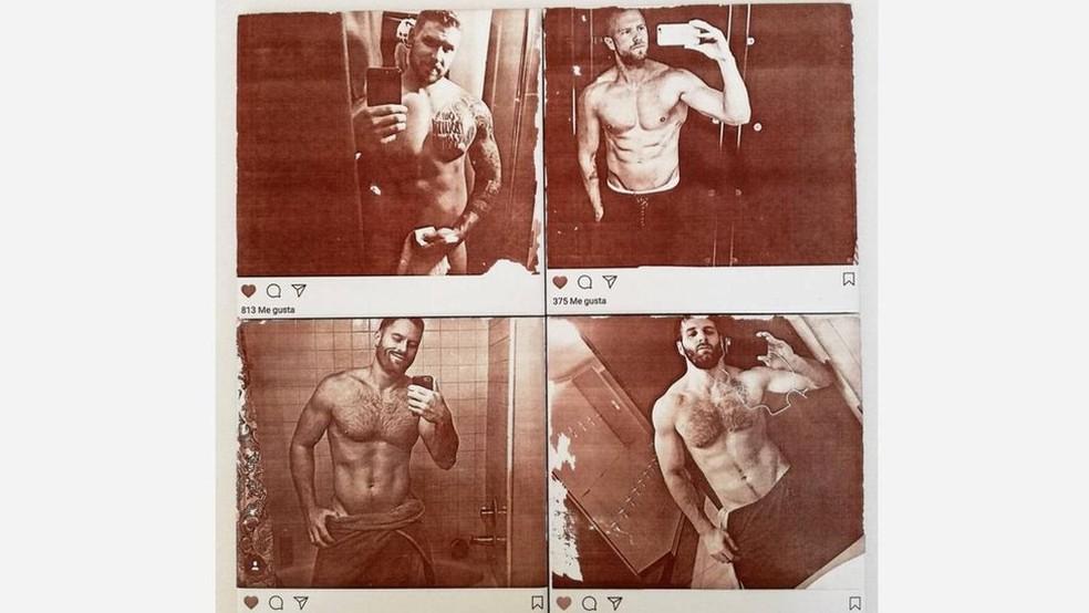 Em um trabalho chamado Narcissus, o artista David Trullo fez azulejos de banheiro com as fotos de homens sem camisa tirando selfies em banheiros (Foto: David Trullo)