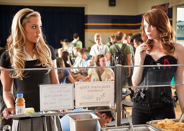 As atrizes Amanda Bynes e Emma Stone em cena de A Mentira (2010) (Foto: Reprodução)