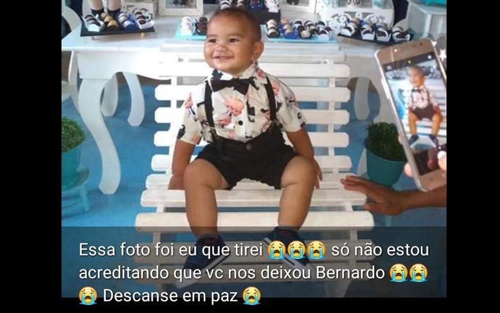 Mãe do bebê Bernardo postou foto do filho — Foto: Reprodução/Instagram