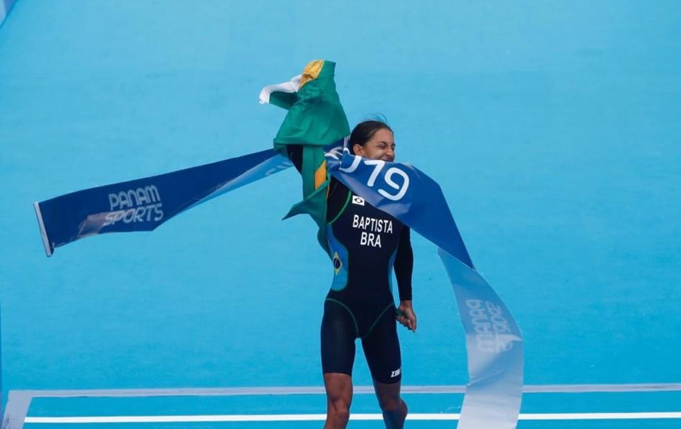 Luisa no momento da chegada — Foto: Twitter/Panam Sports