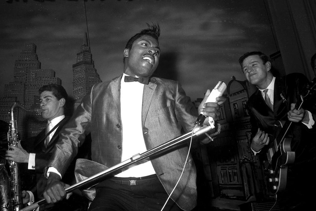 Little Richard durante apresentação no Hamburg Star Club, em outubro de 1962 — Foto: Sven Simon/dpa Picture-Alliance via AFP/Arqui