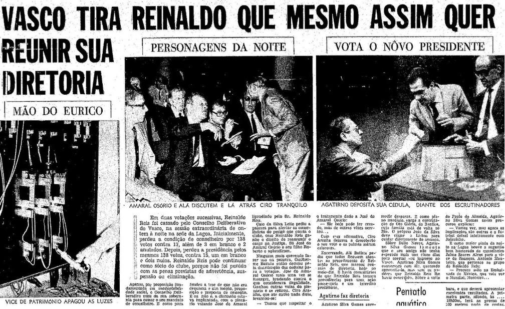 Mão de Eurico, fotografada apagando a luz na sessão de cassação do presidente Reinaldo Reis — Foto: Reprodução O Globo / 26-11-1969