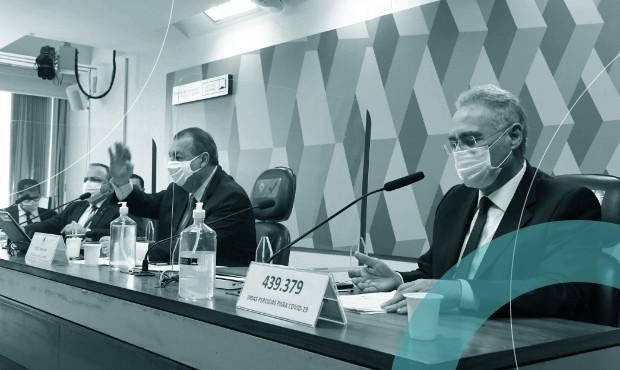 Ex-ministro da Saúde Eduardo Pazuello e senadores Omar Aziz e Renan Calheiros em sessão da CPI da Covid