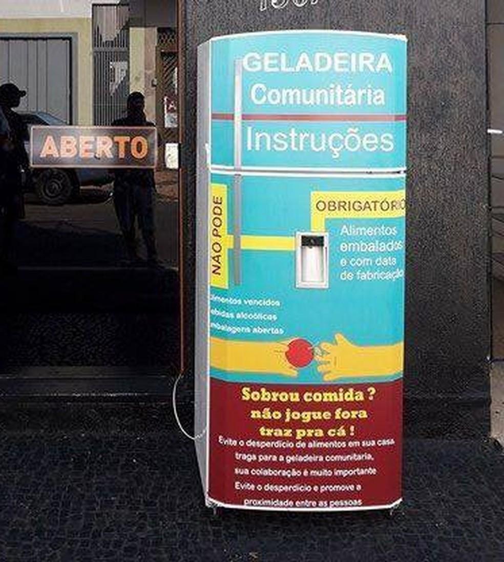 Geladeira comunitária em Rio Claro, SP (Foto: Arquivo Pessoal)