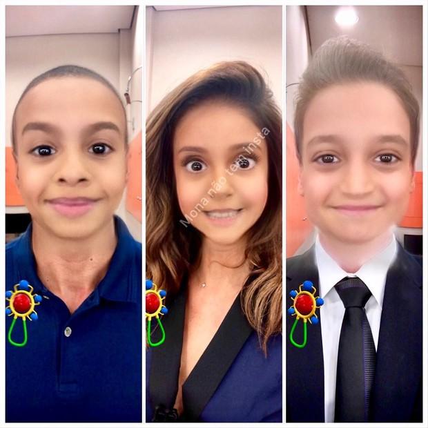 Thiago Oliveira, Monalisa Perrone e Tiago Scheuer com filtro de bebê (Foto: Reprodução/Instagram)