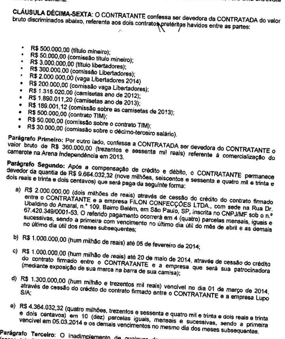 Dívida do Atlético com R10 no início de 2014 — Foto: Reprodução