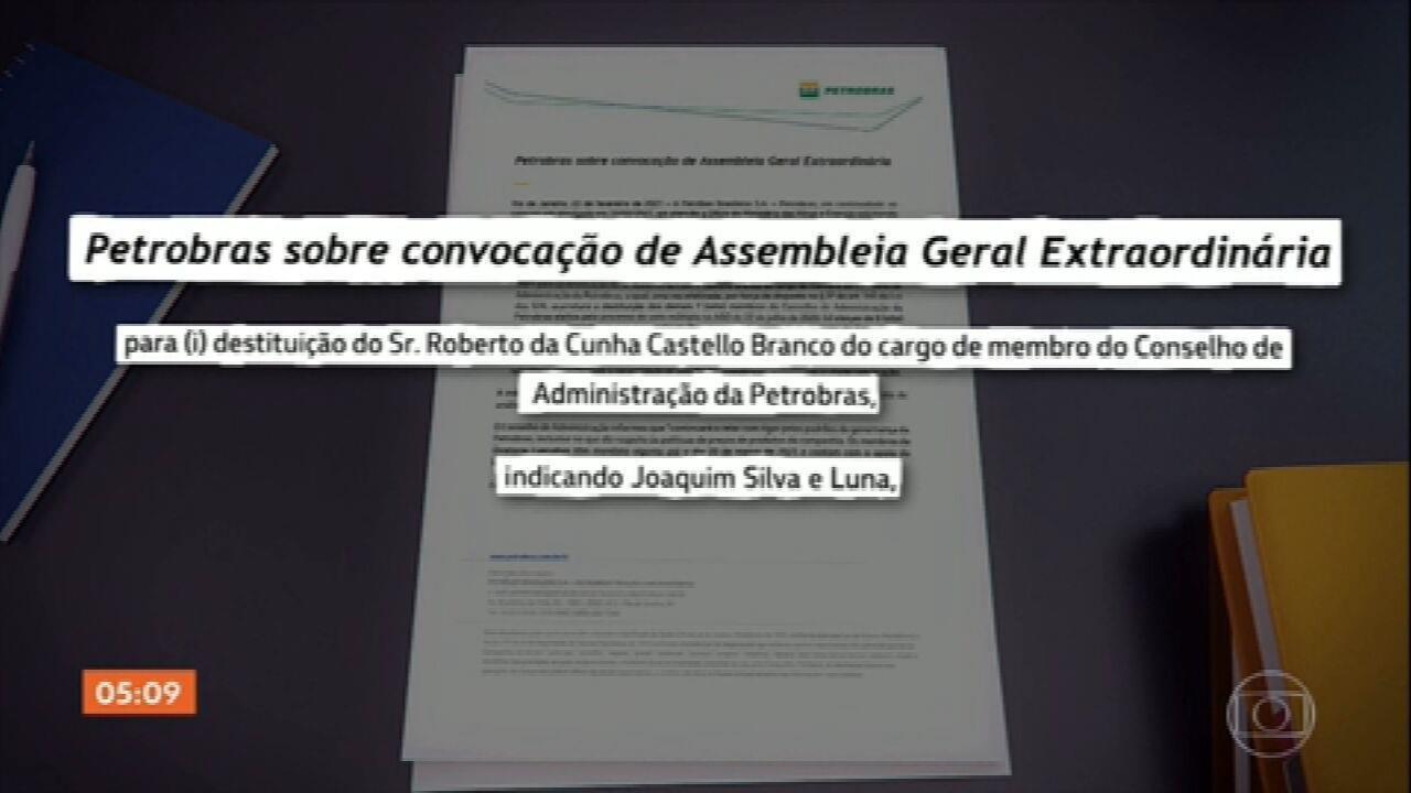 Conselho aprova convocação de assembleia para votar mudança na presidência da Petrobras