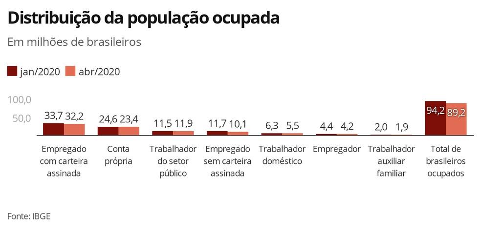 Distribuição da população ocupada — Foto: Economia G1