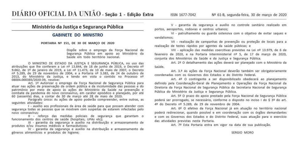 Portaria do Ministério da Justiça e Segurança Pública — Foto: Reprodução / Diário Oficial da União