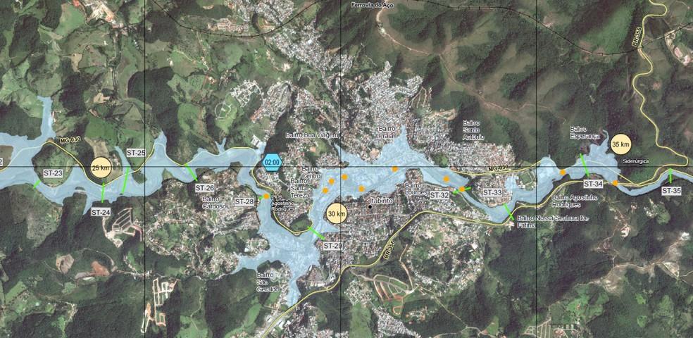 Mapa simula caminho dos rejeitos em caso de rompimento das barragens Forquilha I, II e III — Foto: Ministério Público/Divulgação