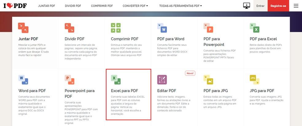 Site I Love PDF permite converter Excel em PDF — Foto: Reprodução/Rodrigo Fernandes