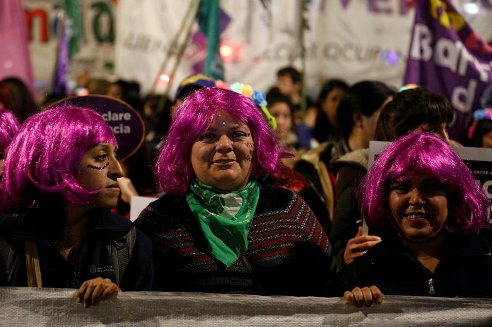 Protesto 'Nem Uma a Menos' reuniu milhares em Buenos Aires, Argentina — Foto: Emiliano Lasalvia/AFP