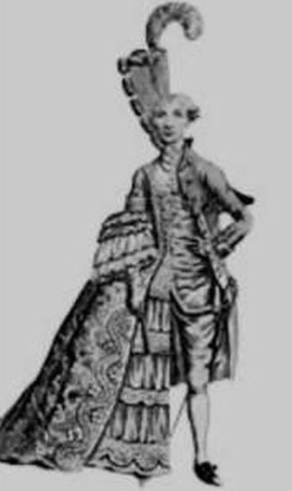 Ilustração mostra o lado feminino e masculino de Enriqueta (Foto: BBC/Reprodução)