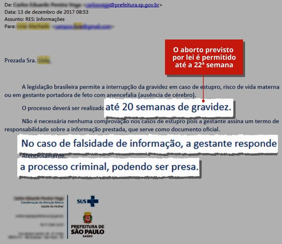 Resposta do serviço da Prefeitura por e-mail tem erro de informação e ainda diz que mulher pode ser presa (Foto: Alexandre Mauro/G1)