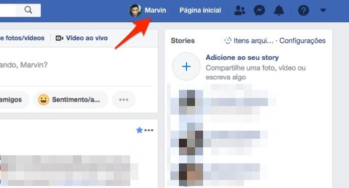 Ação para acessar um perfil de usuário do Facebook (Foto: Reprodução/Marvin Costa)