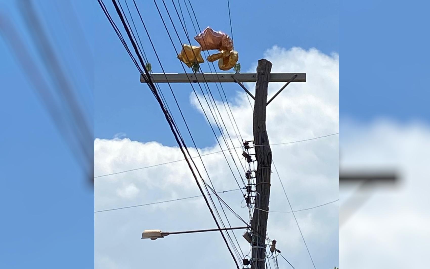 Balões ficam presos em poste e deixam cerca de 30 quadras sem energia, em Nova Veneza