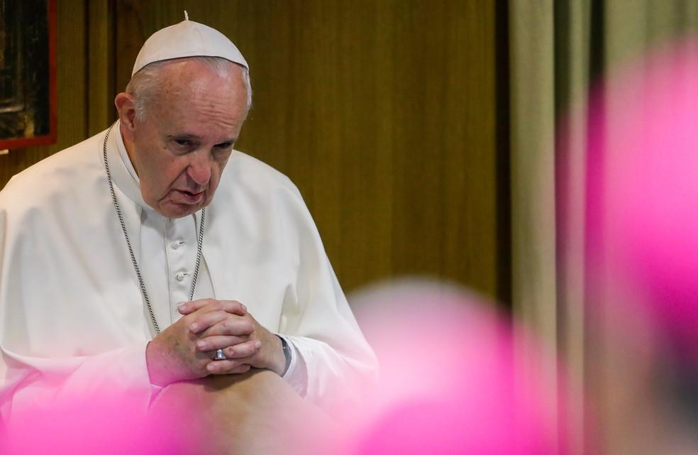 Papa Francisco durante o Sínodo da Amazônia, no Vaticano — Foto: Remo Casilli/Reuters