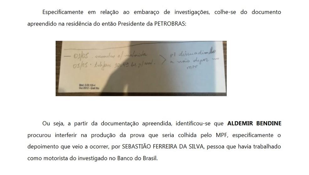 MPF anexa foto de anotação de Aldemir Bendine (Foto: reprodução)